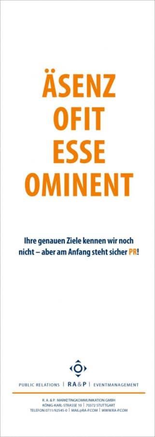 Kreative Werbung - Anzeigenmotiv aus der Imagekampagne für die PR-Agentur RA&P (heute Ansel Möllers)