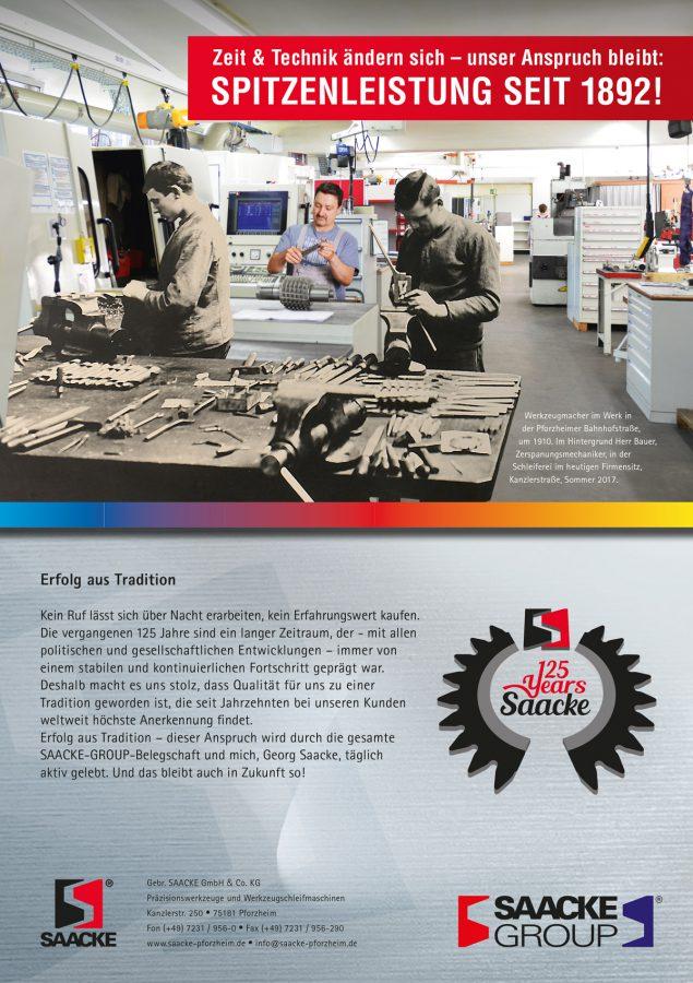 Anzeige zum 125jährigen Jubiläum der Gebr. SAACKE GmbH & Co. KG