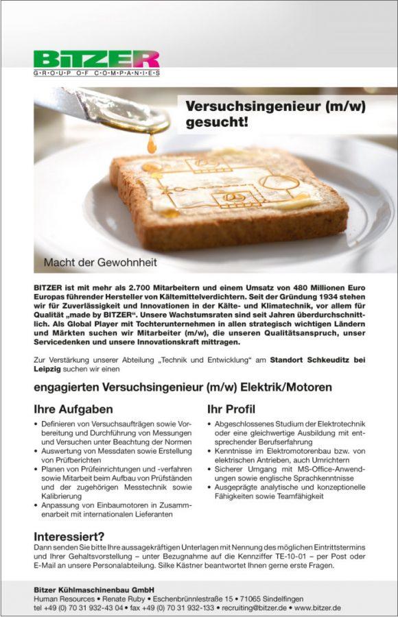 Stellenazeige für die Bitzer Kühlmaschinenbau GmbH