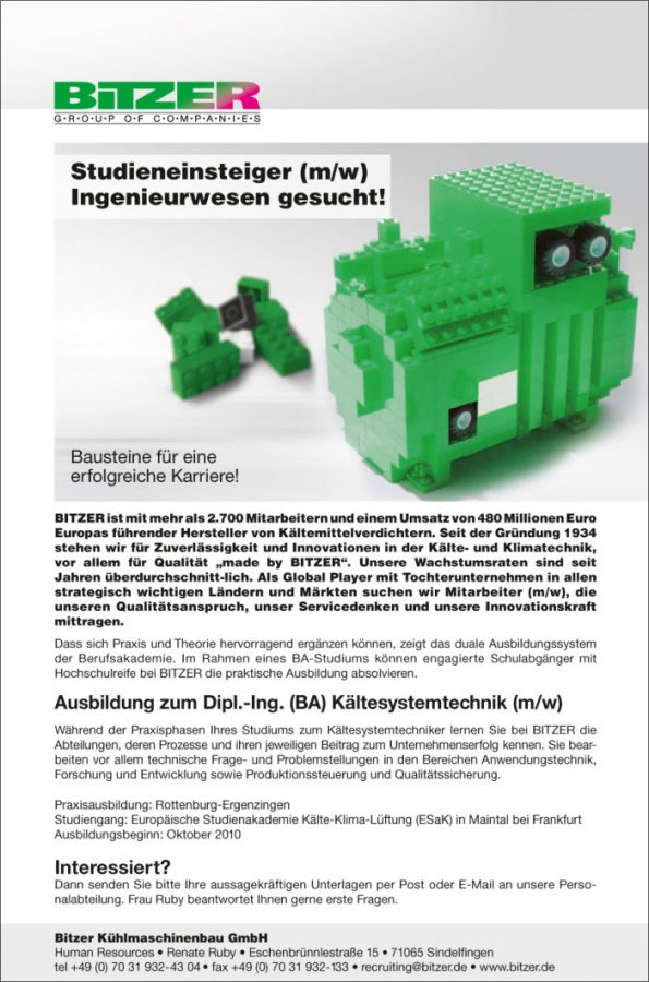 Stellenanzeige für die Bitzer Kühlmaschinenbau GmbH