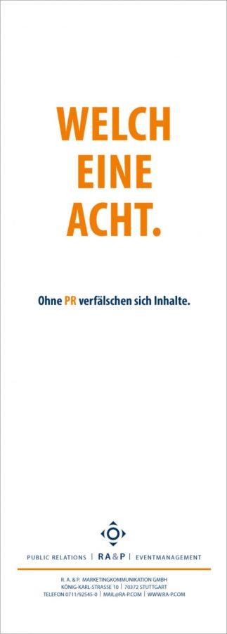 Anzeigenmotiv aus der Imagekampagne für die PR-Agentur RA&P (heute Ansel Möllers)