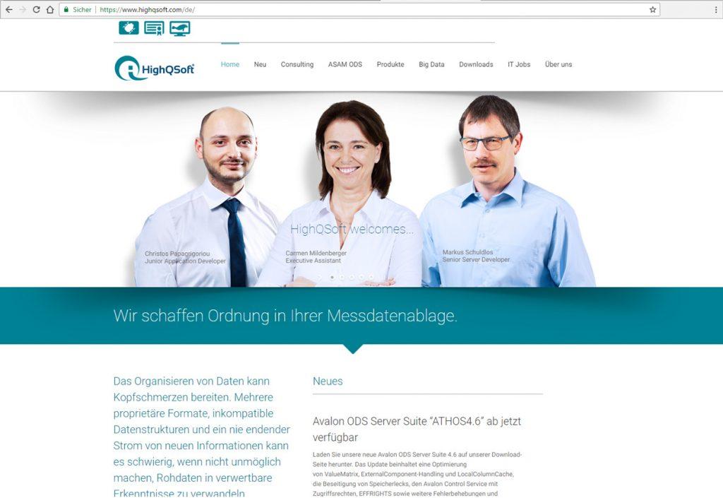 Abbildung der neuen HighQSoft Website