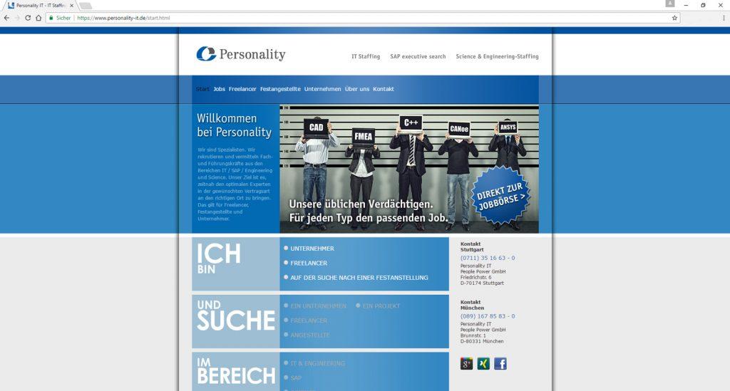 Screenshot der Website von Personality IT