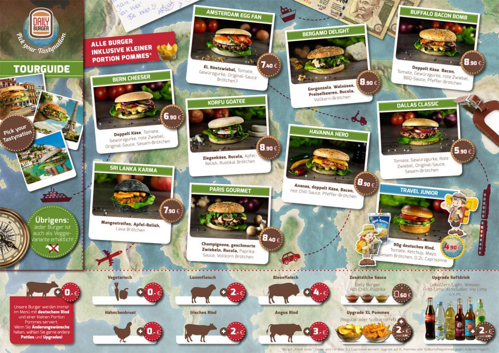 Speisekarte eines Daily Burger Restaurants