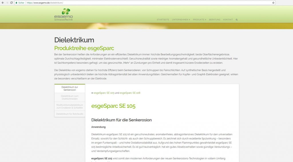 Esgemo Webseite Dielektrikum