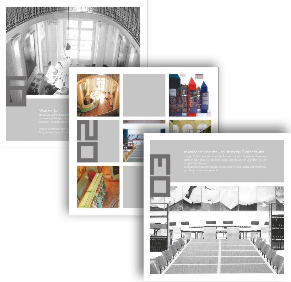 Innenseiten der Imagebroschüre des IFBD (Institut für Bibliotheksdesign)