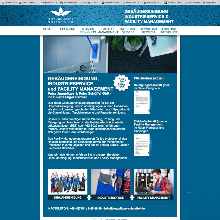 Die Startseite des Homepage-Auftrittes von Jungeilges & Schöffel