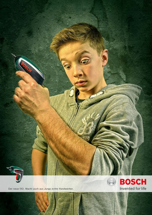 Kreative Werbung für den Bosch IXO.