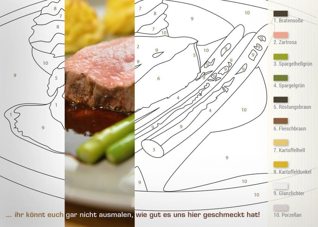 Markenkommunikation über eine Ausmalpostkarte für Kochkursteilnehmer