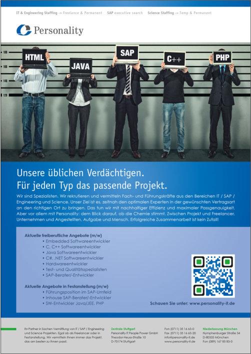 Anzeigenmotiv für die Personality-IT GmbH