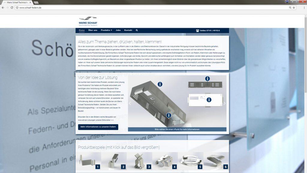 Abbildung der neuen Website/Homepage der Mario Schaaf Technische Federn GmbH & Co. KG