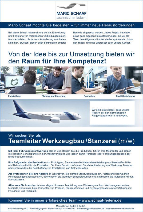 Abbildung der neuen Stellenanzeige der Maio Schaaf Technische Federn GmbH & Co. KG mit authentischen Firmenbildern und spannender Projektbeschreibung