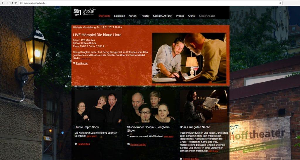 Neue Website des Studio Theaters nach dem Coaching durch die Ars Cordis